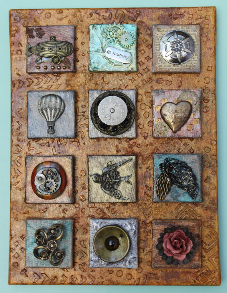 Steampunk Found Object Collage 12 Mini Canvases In One